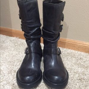 Black Leather Boots Size 6 1/2